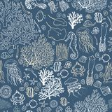 Seamless sea-ocean pattern with fishes, corals, squids, seashells etc. Hand drawn background royalty free illustration