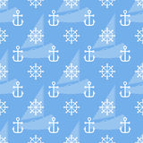 Seamless sea pattern of anchor, handweel and sailboat shape. Vector Royalty Free Stock Image