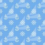 Seamless sea pattern of anchor, handweel and sailboat shape. Vector. Illustration stock illustration