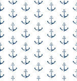 Seamless sea pattern with anchor isolated on white Stock Images