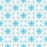 Seamless sea pattern with anchors, hand wheels Royalty Free Stock Image