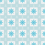 Seamless sea pattern with anchors and hand wheels Stock Photo