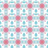 Seamless sea pattern with anchors and hand wheels Royalty Free Stock Image