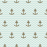 Seamless sea pattern of anchors and waves. For textiles, interior design, for book design, website background Royalty Free Stock Photography