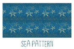 Seamless sea pattern. Blue sea and seastar seamless hand-drawn pattern Royalty Free Stock Photos