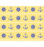 Seamless sea pattern. Blue wheel and stern anchor on yellow Stock Photography