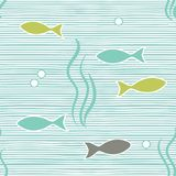 Seamless sea pattern with blue and white horisontal lines and fishes. Eps-8 Stock Photos