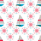 Seamless sea pattern with boats and hand wheels Stock Image