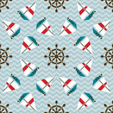 Seamless sea pattern with boats and hand wheels Stock Photography