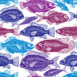 Seamless sea pattern, different fish silhouettes. Vector hand dr Royalty Free Stock Photos
