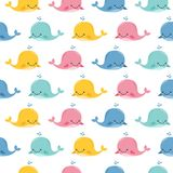 Seamless sea pattern with funny whales. Summer marina background. Stock vector vector illustration