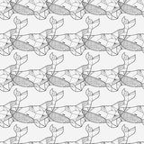 Seamless sea pattern with hand drawn whales Stock Images