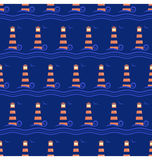 Seamless sea pattern. Lighthouse with light blue wave on blue Stock Photography
