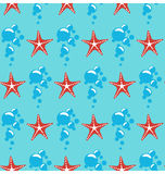 Seamless sea pattern. Red starfish and blue bubbles on blue Stock Images
