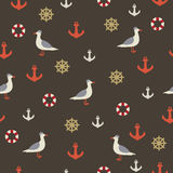Seamless sea pattern with seagulls royalty free illustration