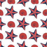 Seamless sea pattern with starfish. On white background Royalty Free Stock Photos