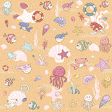 Seamless sea pattern with various inhabitants Stock Images