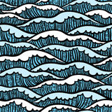 Seamless sea pattern with waves Royalty Free Stock Photo