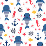 Seamless sea pattern: whale, anchor and seahorse. Seamless sea pattern: whale, fish, anchor, seahorse. Cute nautical background. Marine life background. Design Royalty Free Stock Images
