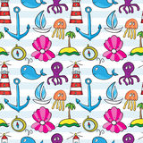 Seamless sea pattern: whale, boat, island, anchor, octopus, jell Royalty Free Stock Photos