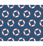 Seamless sea pattern. White lifebuoy on blue Royalty Free Stock Image