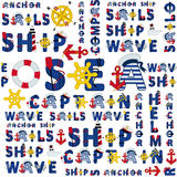 Seamless sea pattern of words Royalty Free Stock Image