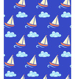 Seamless sea pattern. Yacht on wave and cloud on blue background Royalty Free Stock Photography