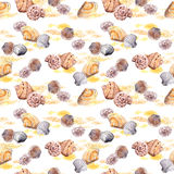 Seamless sea shell and sand pattern on white background. Watercolor Royalty Free Stock Images