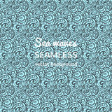 Seamless sea vector blue wave line pattern, sea background Royalty Free Stock Images