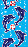 Seamless sea vertical border with dolphins Stock Photo