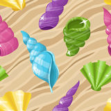 Seamless seashell background Stock Photos