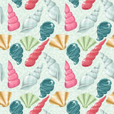 Seamless seashells pattern. Seamless pattern with cute pastel seashells Stock Photo