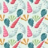 Seamless seashells pattern Stock Photo