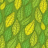 Seamless season background, green leaves pattern Stock Photos