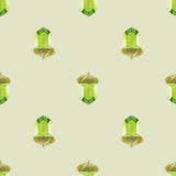 Seamless seasonal pattern with stylized acorns on pale green background. Royalty Free Stock Photo
