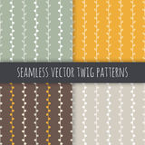 Seamless seasonal vector patterns set. White twigs on green yellow brown grey background. Royalty Free Stock Images
