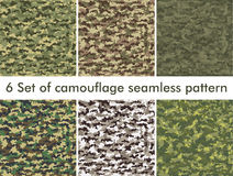 Seamless set of camouflage military pattern. Cloth for infantry. Abstract background. Vector illustration Royalty Free Stock Photography