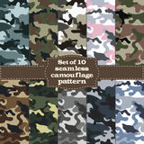 Seamless set of camouflage pattern stock illustration