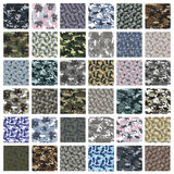 Seamless set of camouflage pattern vector. Big Seamless set of camouflage pattern vector stock illustration