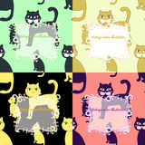 Seamless set of cats for greeting card vector illustration Royalty Free Stock Photography