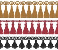 Seamless set of colorful fringe Stock Image