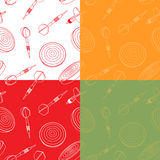 Seamless set of  dartboards and dart arrows. Royalty Free Stock Images