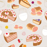 Seamless set of desserts and pastries, symbolizing a coffee shop Stock Photos
