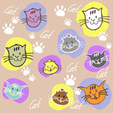 Seamless set different colors cats with inscription and paw prin. Ts. Vector illustration Royalty Free Stock Photography