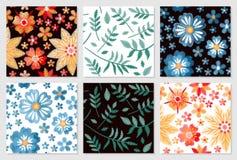 seamless set för blom- modeller Broderi av blommor och sidor på vit och svart bakgrund royaltyfri illustrationer