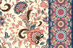 seamless set för blom- modeller Tappning blommar bakgrunder och gränser med tjänstledigheter vektor för prydnadar för dekorformgi royaltyfri illustrationer