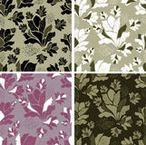 Seamless set of floral patterns Stock Photo