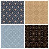 Seamless set four vintage backgrounds in vintage style. Stock Photos