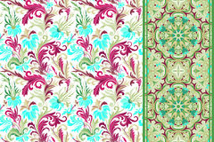 seamless set för blom- modeller Tappning blommar bakgrunder och gränsar vektorn Royaltyfri Fotografi