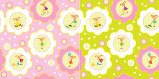 Seamless set of girls. Two seamless backgrounds. Set of girls engaged in various activities such as: play, work, cry, paint, etc vector illustration
